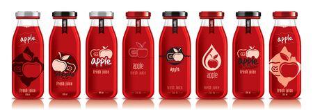 Ready design vector apple juice, fruit glass bottle set