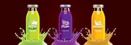 Fruit juice splash bottle set, sticker design. Иллюстрация