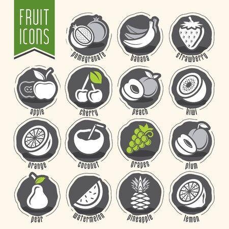 Ready design vector fruit icon set