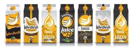 Ready design vector banana juice, fruit package set