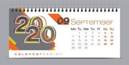 Diseño de calendario vectorial con concepto de temporadas 2020 y tipografía Ilustración de vector