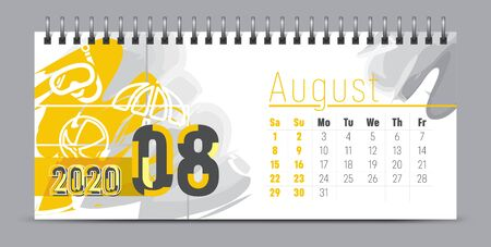 Vector calendar design with 2020 seasons concept and typography
