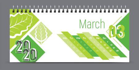 Diseño de calendario vectorial 2020, tipografía, ilustración.