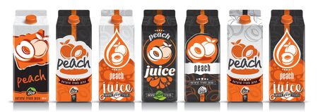 Ready design vector peach juice, fruit package set