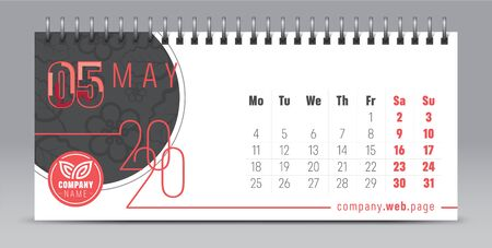 2020 vector calendar design, typography, illustration. 向量圖像