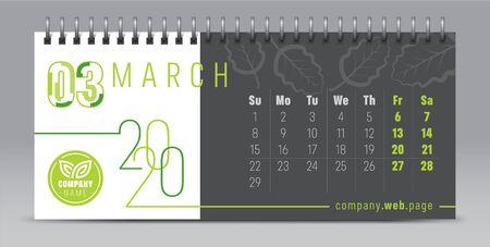 2020 vector calendar design, typography, illustration. Иллюстрация