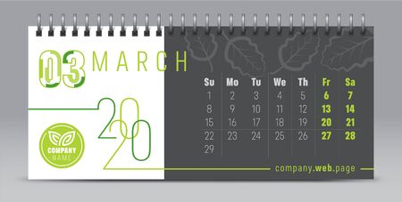 2020 vector calendar design, typography, illustration. Illustration