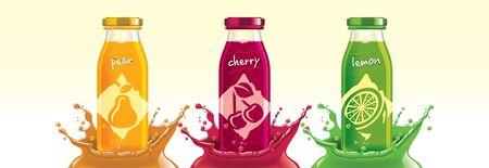 Fruit juice splash bottle set, pear, cherry, lemon sticker design.