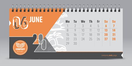 Calendar template for 2020 year. Vector and typographic planner in minimalistic style. Illustration