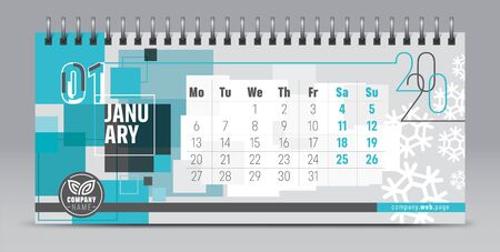 Calendar template for 2020 year. Vector and typographic planner in minimalistic style. 向量圖像