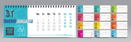 Calendar template for 2020 year. Vector and typographic planner in minimalistic style. Иллюстрация