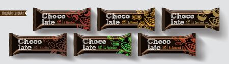 Chocolate bar vector packaging design. Nuts chocolate set.