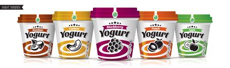 Yogurt vector packaging design. Fruit and nuts yogurt set. Archivio Fotografico - 138083207