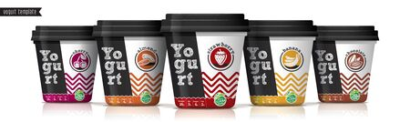 Yogurt vector packaging design. Fruit and nuts yogurt set. Çizim