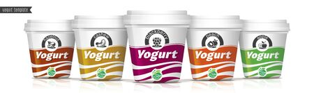 Yogurt vector packaging design. Fruit and nuts yogurt set. Çizim