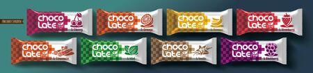 Chocolate bar vector packaging design.