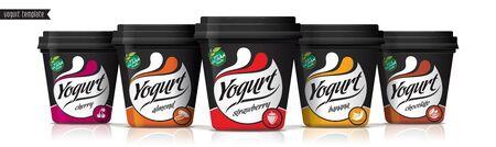 Yogurt vector packaging design. Fruit and nuts yogurt set. Illustration