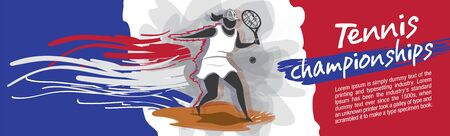 Vector tennis character design with country flag concept. 向量圖像