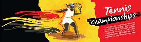 Vector tennis character design with country flag concept.