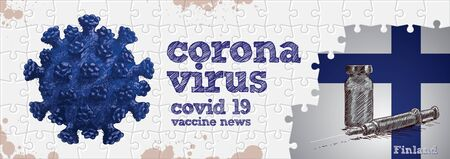 Finland flag, corona virus and vaccine. Puzzle concept hand drawing Illusztráció