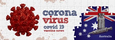 Australia flag, corona virus and vaccine. Puzzle concept hand drawing