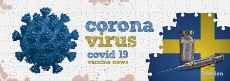 Sweden flag, corona virus and vaccine. Puzzle concept hand drawing
