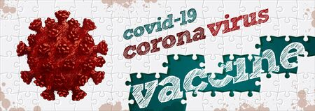 Corona virus and vaccine. Puzzle concept hand drawing