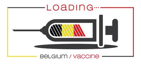 Vaccine and loading concept vector illustration, country flag.
