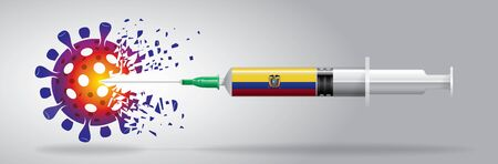 Vector illustration with 3D corona vaccine, country flag concept.