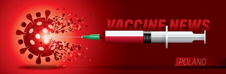 3D corona vaccine. Corona news vector. Country flag concept.