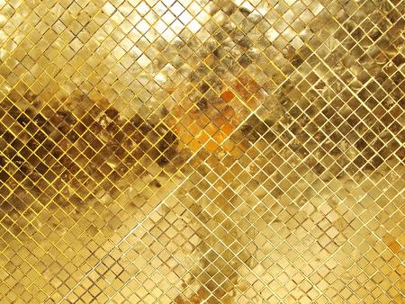 金のモザイク タイルのテクスチャ
