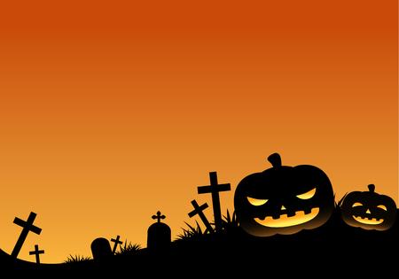 halloween tree: Orange Halloween Pumpkin Background Horizon Illustration