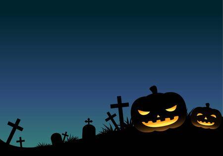 halloween background: Blue Halloween Pumpkin Background Horizon Illustration