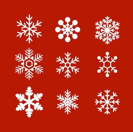 copo de nieve: Copos de nieve planas del vector del ornamento