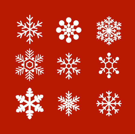 snowflake background: Flat snowflakes ornament vector