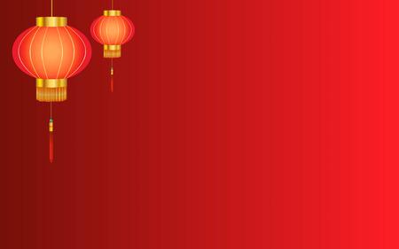 赤の線形の中国のランタンの背景  イラスト・ベクター素材