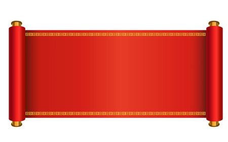 korea: Chinese style scroll vector illustration