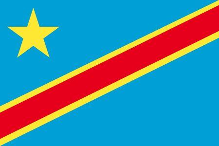 flagged: Flat Democratic Republic of Congo flag vector background