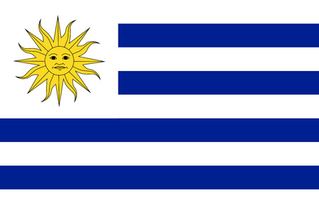 uruguay flag: FLat Uruguay flag vector background