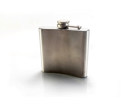 flask: Isolated metal flask front view
