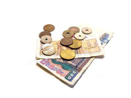 asian coins: Isolate asian currency bank notes and coins