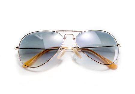 aviator: Isolated aviator style blue sunglasses