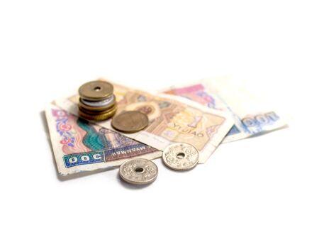 Isoler pièces et billets de banque de devises asiatiques Banque d'images