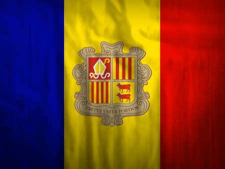 andorra: Fabric Andorra flag background Stock Photo
