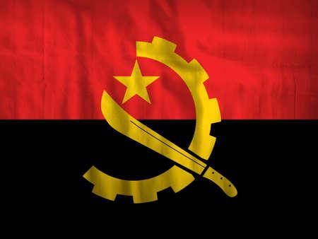 angola: Fabric Angola flag background Stock Photo