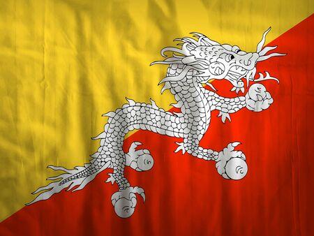 bhutan: Fabric Bhutan flag background texture Stock Photo