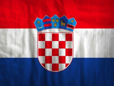 bandera croacia: Tela Croacia textura de fondo de la bandera Foto de archivo