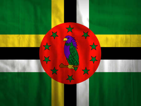 dominica: Fabric Dominica flag background texture Stock Photo