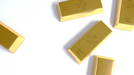 Gold Bar on the white background render 写真素材