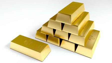 Gold bars on white background 3D rendered illustration